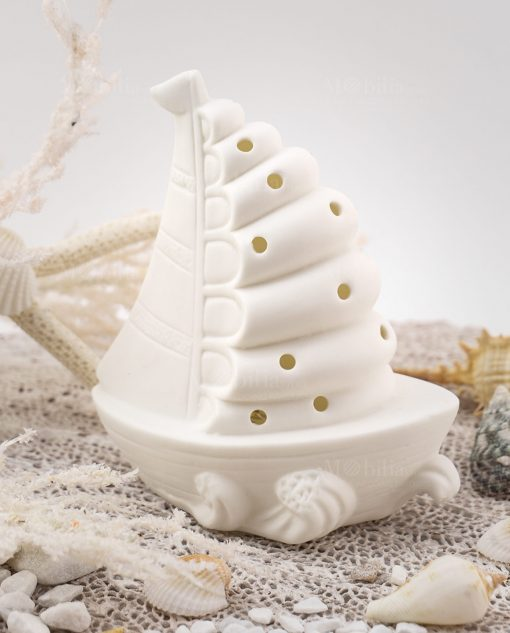 lampada led porcellana bianca barchetta traforata