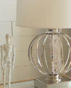 lampada metallo cupola cotone bianco