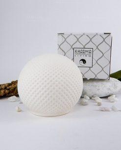 lampada sfera a led porcellana bianca con scatola kharma living