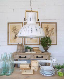 lampadario industriale metallo bianco