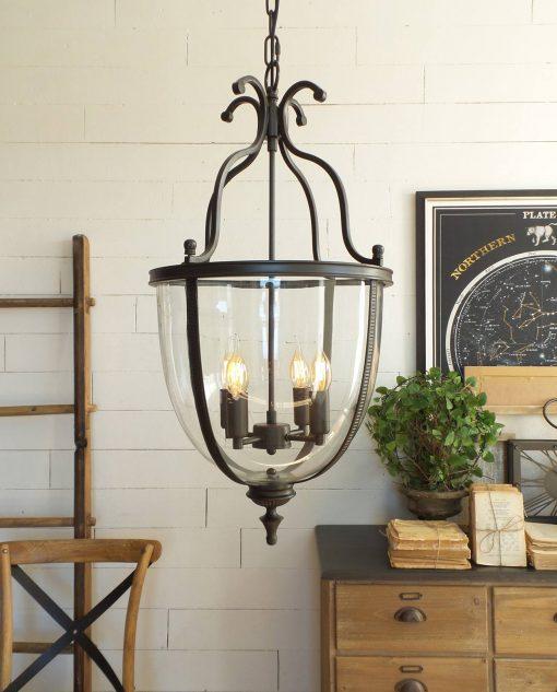 lampadario metallo nero 4 luci