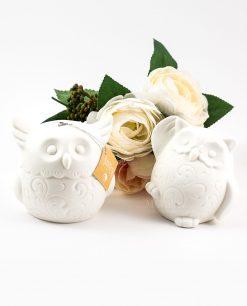 lampda ceramica bianca gufo due modelli
