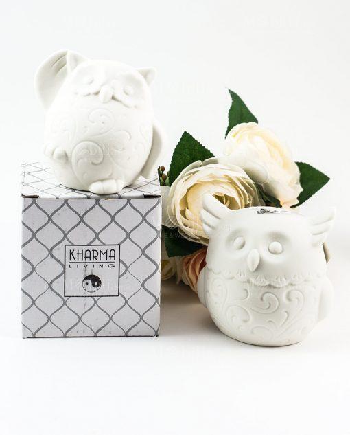 lampda ceramica bianca gufo due modelli con scatola