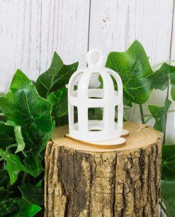 lanterna portacandele gabbietta porcellana bianca
