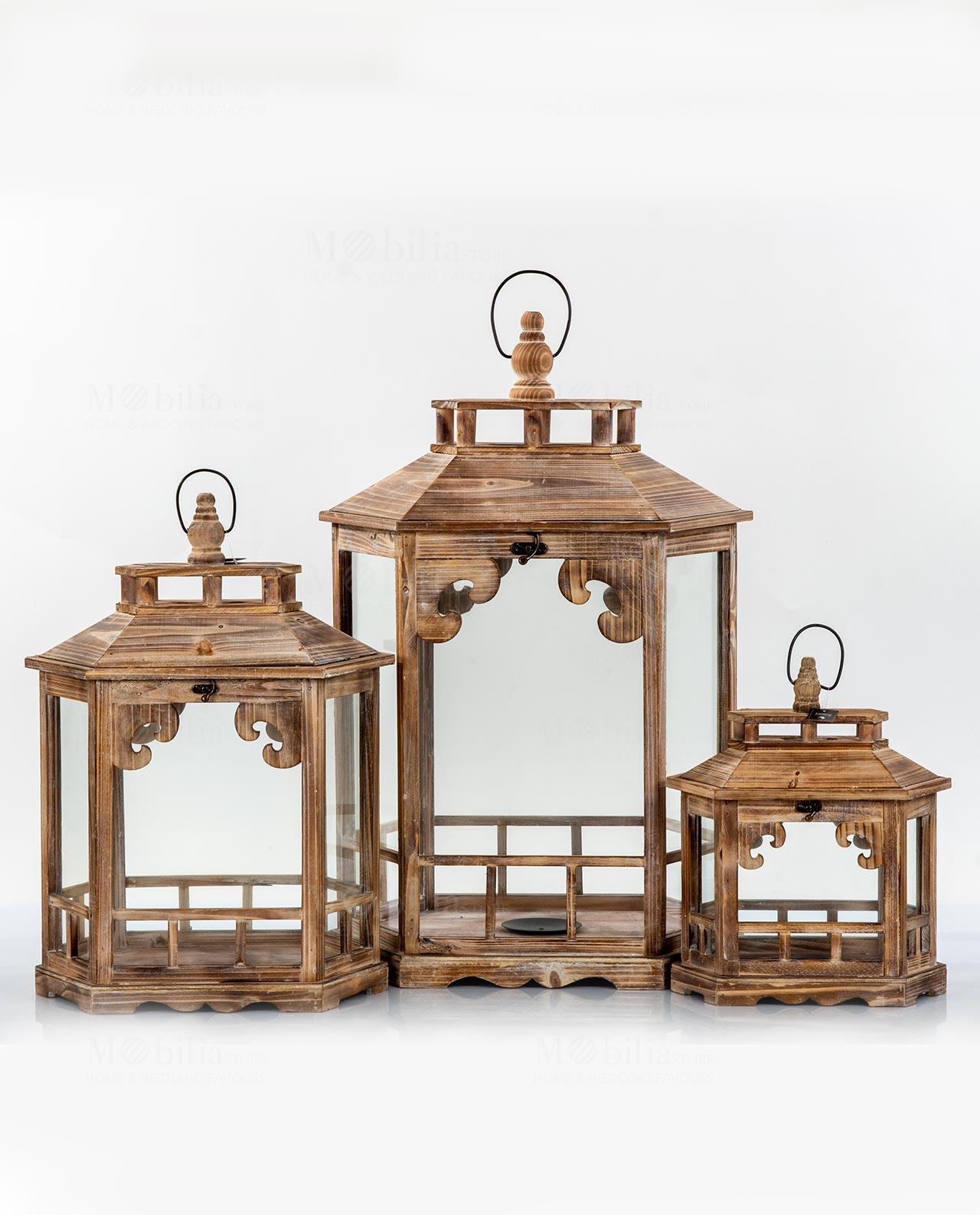 Set 3 lanterne esagonali imperial legno naturale mobilia for Lanterne in legno