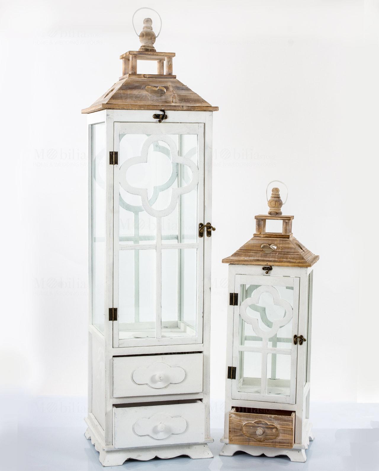 Set 2 lanterne rettangolari legno bianco e naturale for Lanterne in legno