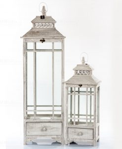 lanterne legno bianco set 2 pezzi