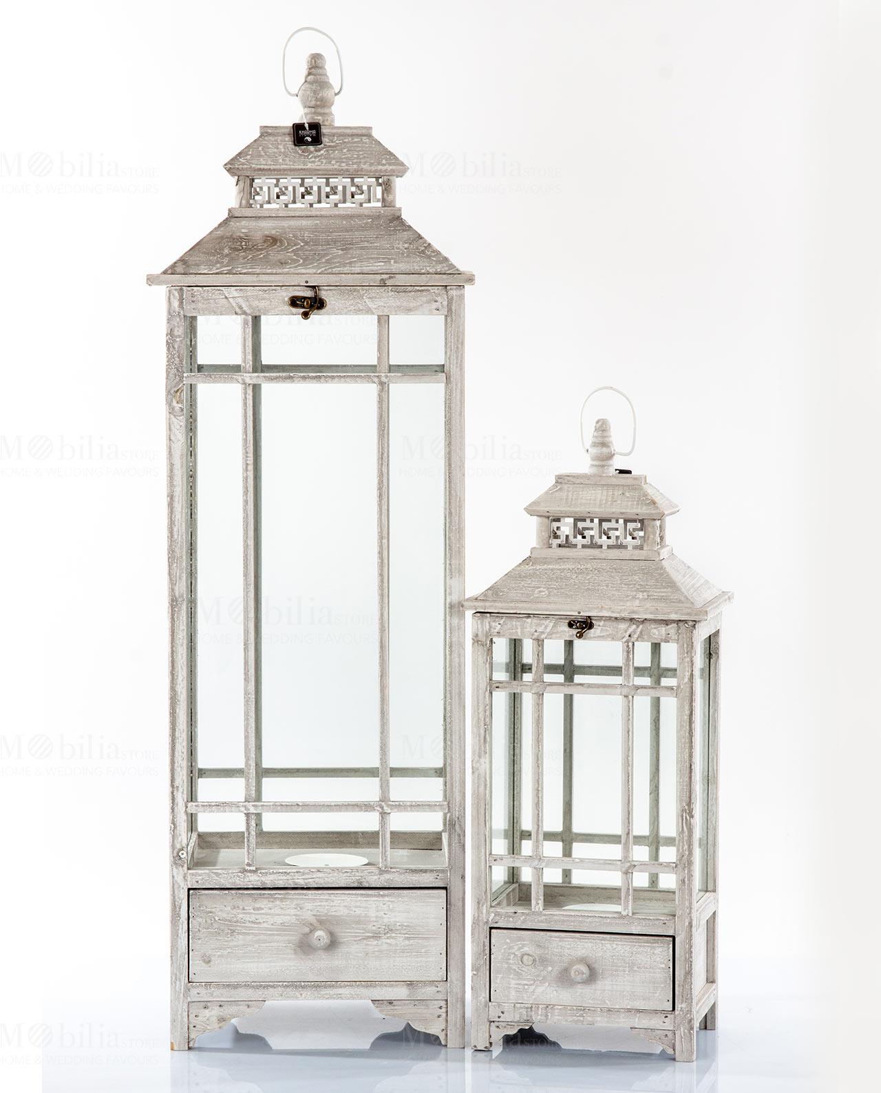 Set 2 lanterne rettangolari Victo legno bianco decapato con cassetto