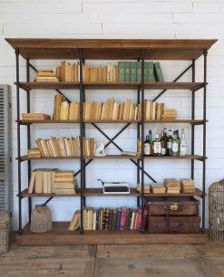 libreria alta 5 ripiani legno e ferro