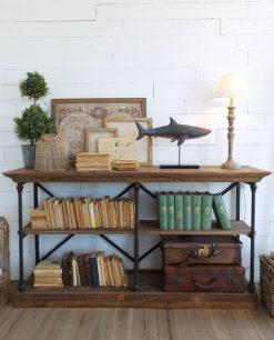 libreria legno di pino e ferro effetto arrugginito