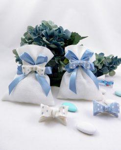 magnete fiocco azzurro e bianco a pois su sacchetto