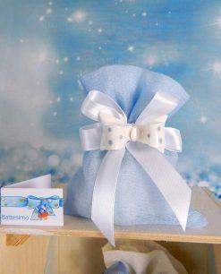 magnete fiocco pois su sacchetto azzurro