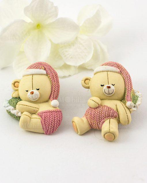 magnete orsetto con cappello rosa due forme assortite