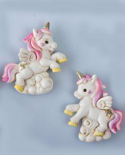 magnete unicorno su nuvola bianco e rosa