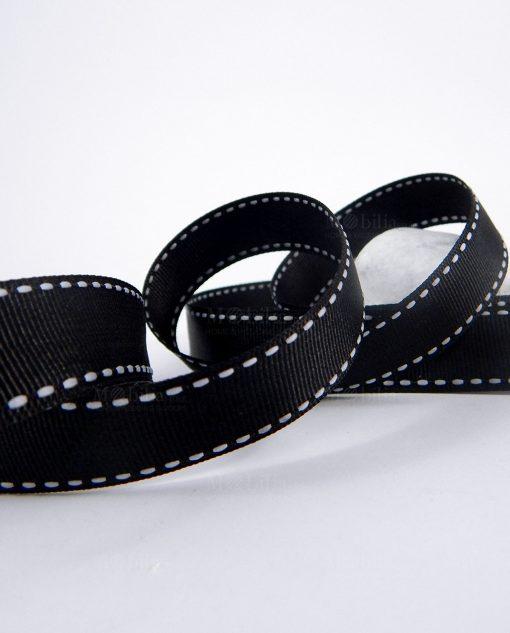 nastro grosgrain nero impuntato nero 2 cm