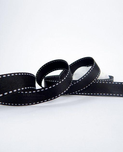 nastro grosgrain nero puntinato bianco 2 cm