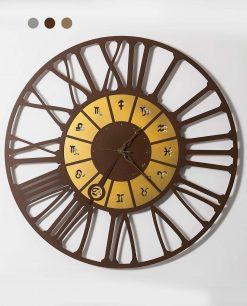 orologio da parete modello zodiac grande colore cortene e oro arti e mestieri