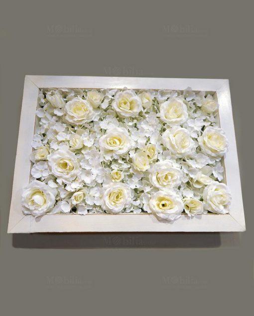 pannello ortensie rose avorio con cornice bianca