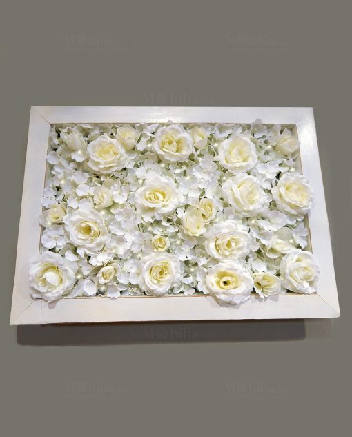 pannello ortensie rose avorio con luci led e cornice bianca