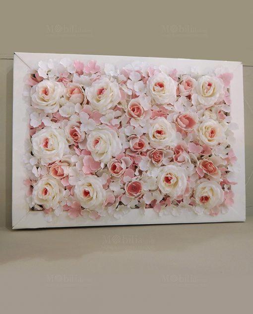 pannello ortensie rose rosa con cornice bianca