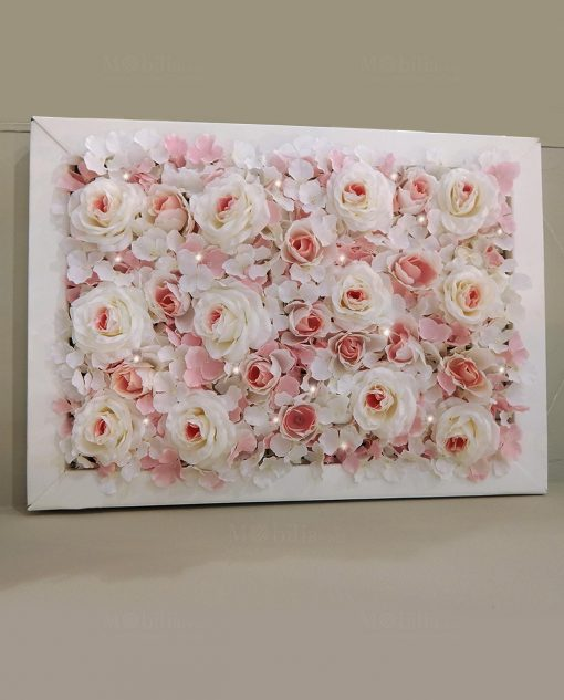 pannello ortensie rose rosa con luci led e cornice bianca