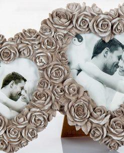 portafoto cuore con rose tortora Copia