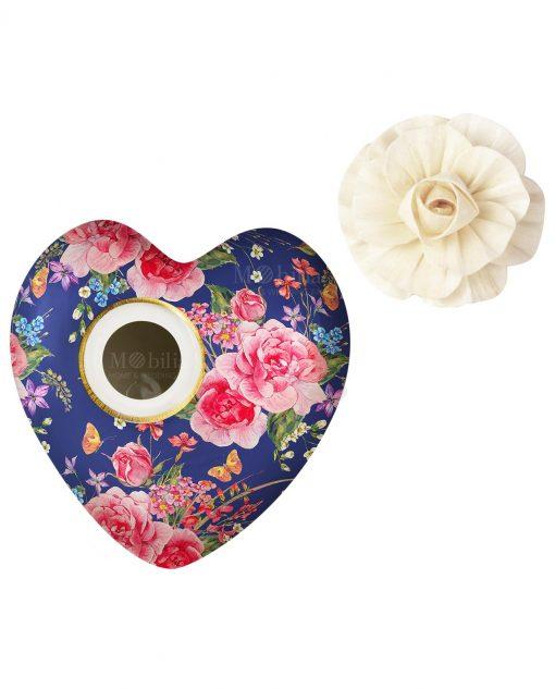 profumatore per ambienti cuore garden in blu in porcellana 300 ml baci milano i love
