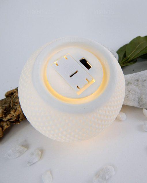 retro lampada sfera con decori a rombi