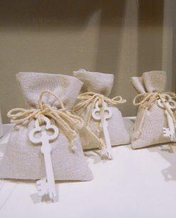 sacchetti juta avorio con chiave legno