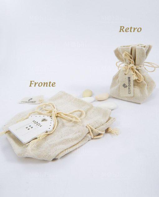 sacchetti portaconfetti avorio con casetta legno