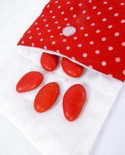 sacchettino bustina in cotone rosso con pois per laurea