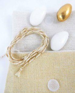 sacchettino juta beige bustina con strappo e cordoncino