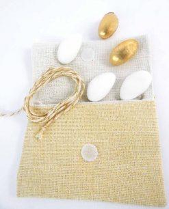 sacchettino juta beige e bianco con strappo