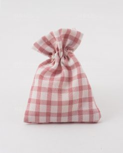 sacchettino portaconfetti a quadri rosa