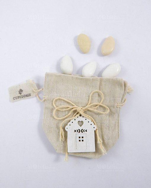 sacchettino portaconfetti avorio con casa legno