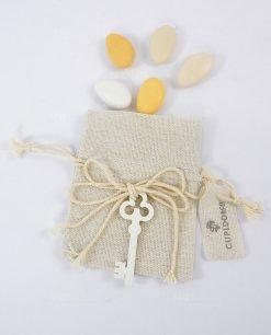 sacchettino portaconfetti juta avorio con chiave legno
