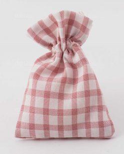 sacchettino portaconfetti rosa a quadri