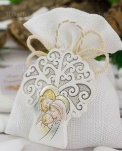 sacchetto portaconfetti con icona albero della vita sacra famiglia