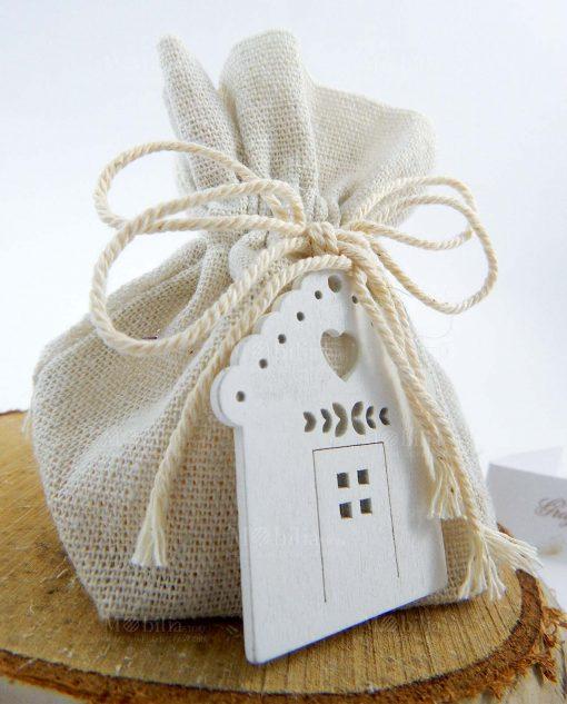 sacchetto portaconfetti juta avorio con casetta legno