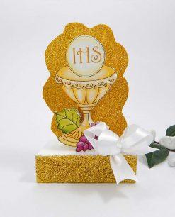 sagoma dii polistirolo a forma di calice ucaristico con uva glitter oro e fiocco bianco