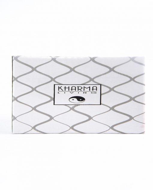 scatola cartoncino bianco e decori a rombo grigi kharma