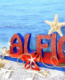 scritta polistirolo personalizzata con stella marina e conchiglie