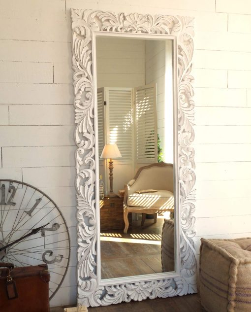specchiera grande rettangolare legno bianco