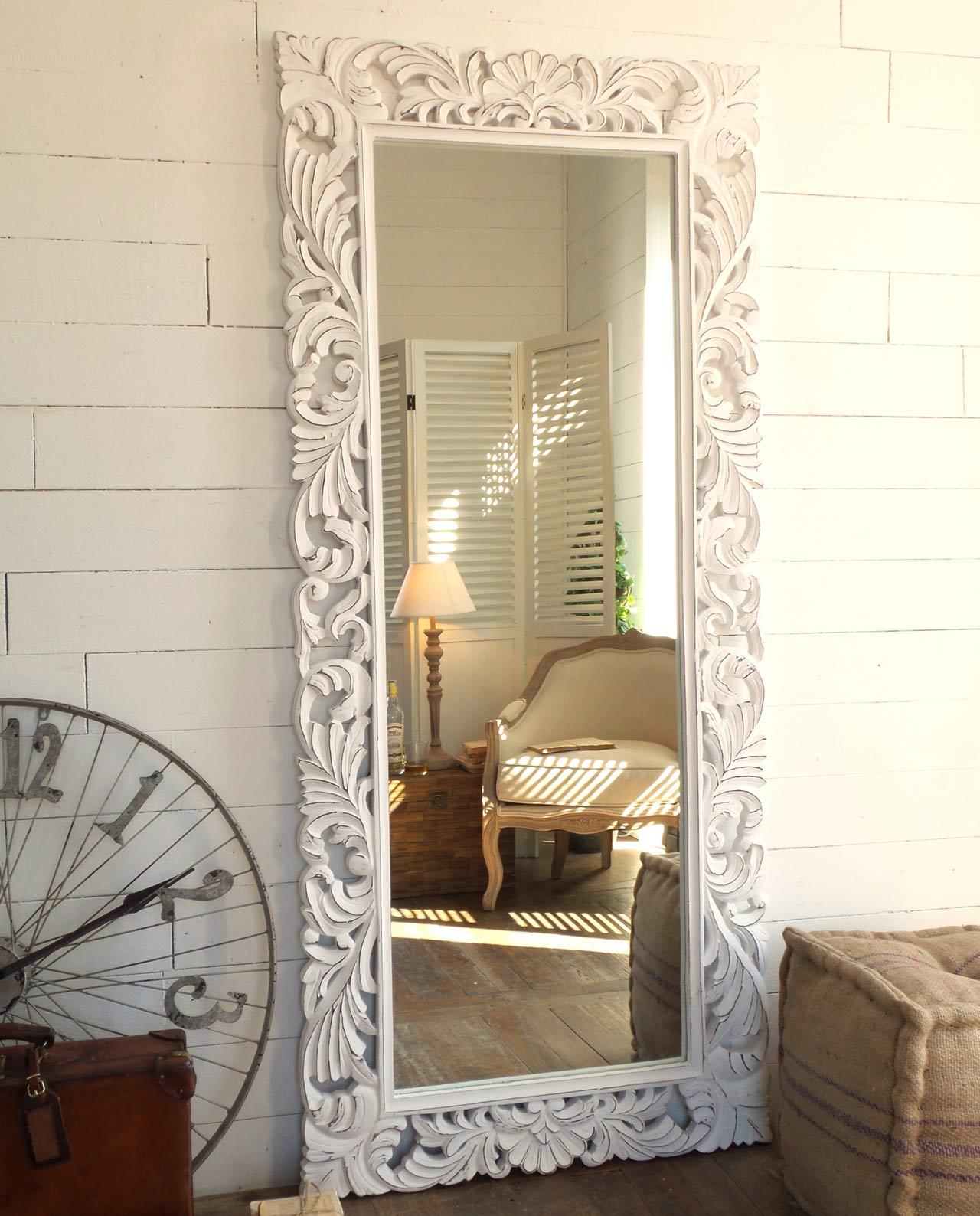 Specchio rettangolare da terra legno intarsiato decapato bianco mobilia store home favours - Specchio ovale da terra ...