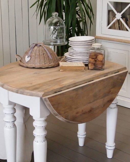 tavolino consolle legno naturale e piedi legno bianco