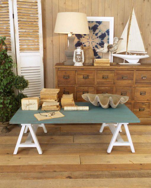 tavolino rettangolare legno azzurro