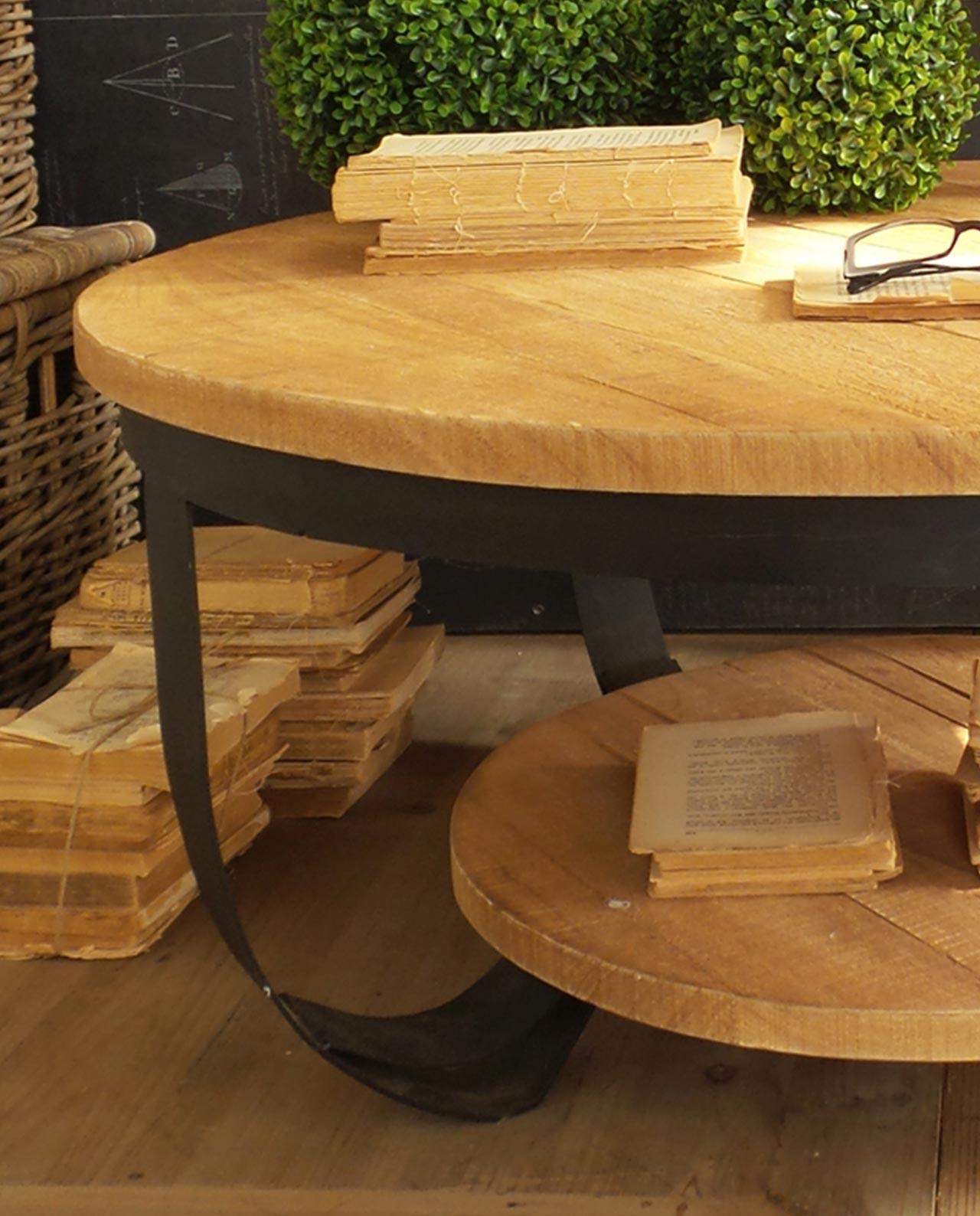 Tavolo basso tondo doppio ripiano legno naturale e ferro mobilia store home favours - Tavolo legno e ferro ...