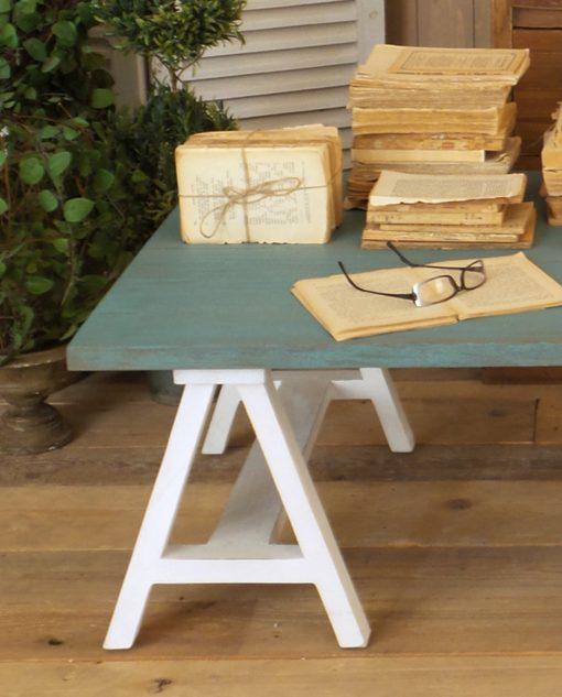 tavolo in mogano massello bianco e azzurro
