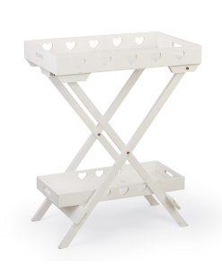tavolo legno bianco con cuori 2 scomparti