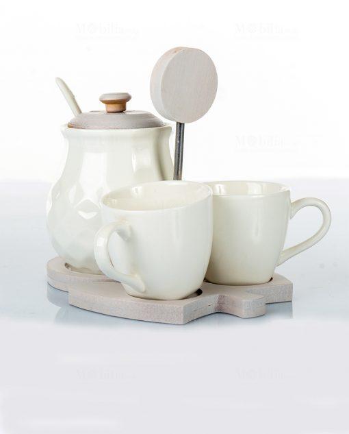 tazzine con zuccheriera porcellana